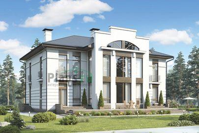 Проект двухэтажного дома 17x18 метров, общей площадью 299 м2, из керамических блоков, со вторым светом, c террасой, котельной и кухней-столовой