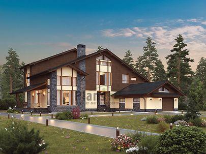 Проект двухэтажного дома 17x18 метров, общей площадью 313 м2, из керамических блоков, со вторым светом, c гаражом, террасой, котельной и кухней-столовой
