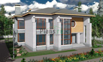 Проект двухэтажного дома 17x18 метров, общей площадью 330 м2, из керамических блоков, c террасой, котельной и кухней-столовой