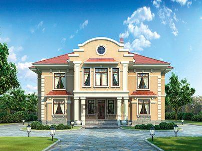 Проект двухэтажного дома 17x18 метров, общей площадью 396 м2, из керамических блоков, c бассейном, террасой, котельной и кухней-столовой