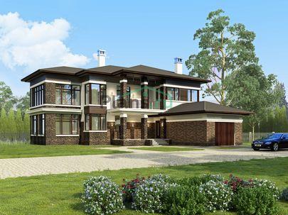 Проект двухэтажного дома 17x19 метров, общей площадью 274 м2, из кирпича, c гаражом, террасой, котельной и кухней-столовой
