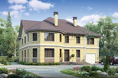 Проект двухэтажного дома 17x19 метров, общей площадью 398 м2, из керамических блоков, c гаражом, котельной и кухней-столовой