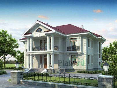 Проект двухэтажного дома 17x20 метров, общей площадью 327 м2, из керамических блоков, со вторым светом, c террасой, котельной и кухней-столовой