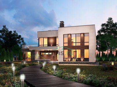 Проект двухэтажного дома 18x11 метров, общей площадью 245 м2, из керамических блоков, c террасой, котельной и кухней-столовой