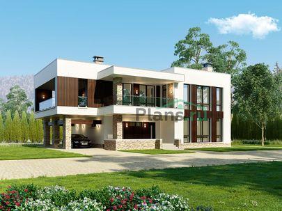 Проект двухэтажного дома 18x11 метров, общей площадью 289 м2, из газобетона (пеноблоков), c террасой, котельной, лоджией и кухней-столовой