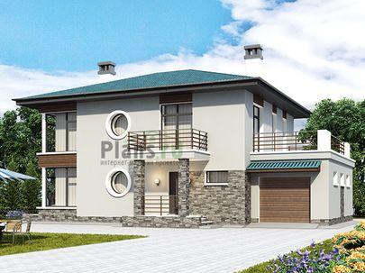 Проект двухэтажного дома 18x12 метров, общей площадью 176 м2, из газобетона (пеноблоков), со вторым светом, c гаражом, террасой, котельной и кухней-столовой