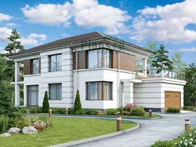Проект двухэтажного дома 18x12 метров, общей площадью 228 м2, из газобетона (пеноблоков), c гаражом и террасой