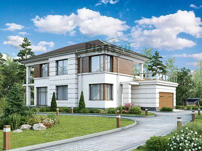 Проект двухэтажного дома 18x12 метров, общей площадью 228 м2, из керамических блоков, c гаражом, террасой и котельной