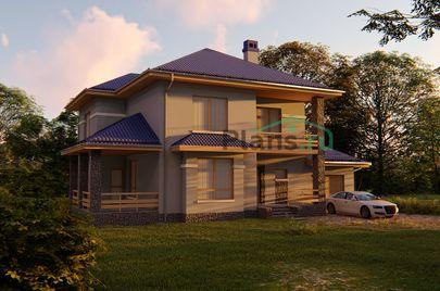Проект двухэтажного дома 18x12 метров, общей площадью 229 м2, из газобетона (пеноблоков), c гаражом, террасой, котельной и кухней-столовой