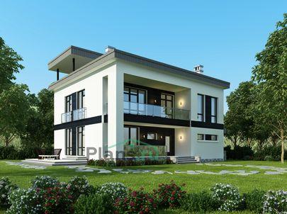 Проект двухэтажного дома 18x12 метров, общей площадью 240 м2, из газобетона (пеноблоков), c террасой, котельной и кухней-столовой