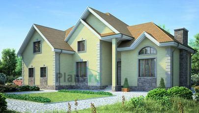 Проект двухэтажного дома 18x12 метров, общей площадью 245 м2, из газобетона (пеноблоков), c гаражом и котельной