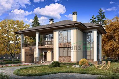 Проект двухэтажного дома 18x13 метров, общей площадью 242 м2, из газобетона (пеноблоков), со вторым светом, c гаражом, террасой, котельной и кухней-столовой