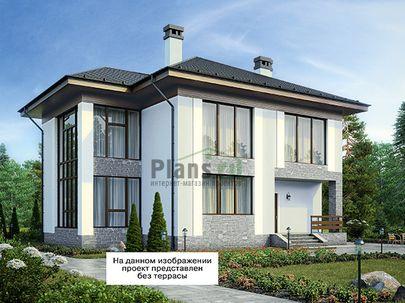 Проект двухэтажного дома 18x13 метров, общей площадью 263 м2, из керамических блоков, c террасой, котельной и кухней-столовой