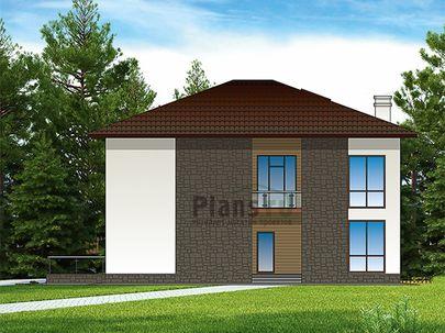 Проект двухэтажного дома 18x13 метров, общей площадью 286 м2, из керамических блоков, c террасой, котельной, лоджией и кухней-столовой
