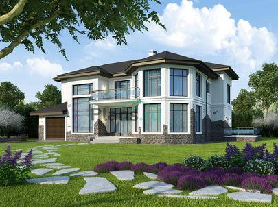 Проект двухэтажного дома 18x13 метров, общей площадью 302 м2, из газобетона (пеноблоков), c гаражом, террасой, котельной и кухней-столовой