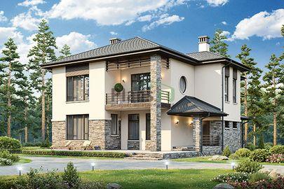 Проект двухэтажного дома 18x14 метров, общей площадью 244 м2, из газобетона (пеноблоков), c террасой и котельной