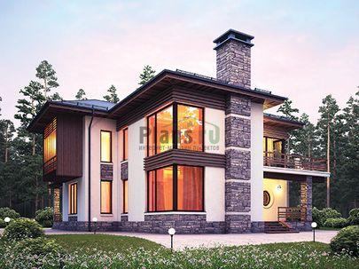 Проект двухэтажного дома 18x15 метров, общей площадью 214 м2, из керамических блоков, со вторым светом, c террасой, котельной, лоджией и кухней-столовой