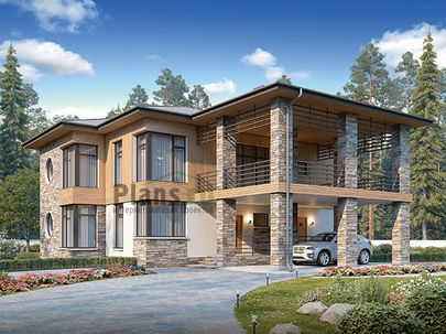 Проект двухэтажного дома 18x15 метров, общей площадью 221 м2, из газобетона (пеноблоков), c террасой, котельной и кухней-столовой