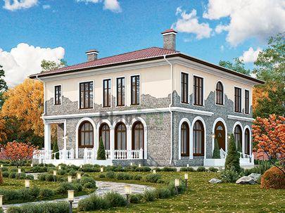 Проект двухэтажного дома 18x15 метров, общей площадью 239 м2, из газобетона (пеноблоков), c террасой и котельной