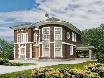 Проект двухэтажного дома 18x15 метров, общей площадью 248 м2, из керамических блоков, c террасой, котельной и кухней-столовой