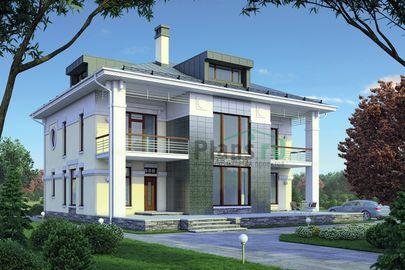 Проект двухэтажного дома 18x15 метров, общей площадью 252 м2, из керамических блоков, со вторым светом, c террасой, котельной и кухней-столовой