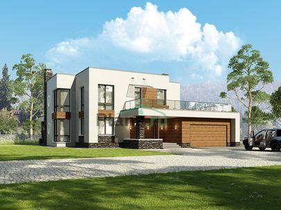 Проект двухэтажного дома 18x15 метров, общей площадью 286 м2, из керамических блоков, c гаражом, террасой, котельной и кухней-столовой