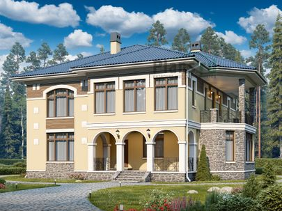 Проект двухэтажного дома 18x15 метров, общей площадью 297 м2, из керамических блоков, c террасой, котельной и кухней-столовой