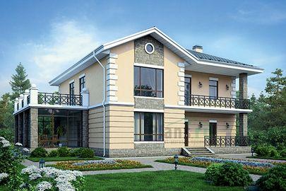 Проект двухэтажного дома 18x15 метров, общей площадью 304 м2, из керамических блоков, c зимним садом, котельной и кухней-столовой