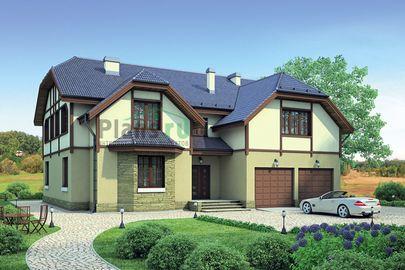 Проект двухэтажного дома 18x15 метров, общей площадью 371 м2, из керамических блоков, c гаражом, котельной и кухней-столовой