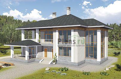 Проект двухэтажного дома 18x16 метров, общей площадью 246 м2, из газобетона (пеноблоков), c террасой, котельной и кухней-столовой