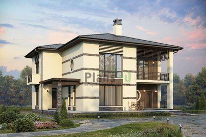 Проект двухэтажного дома 18x16 метров, общей площадью 256 м2, из керамических блоков, c террасой, котельной и кухней-столовой