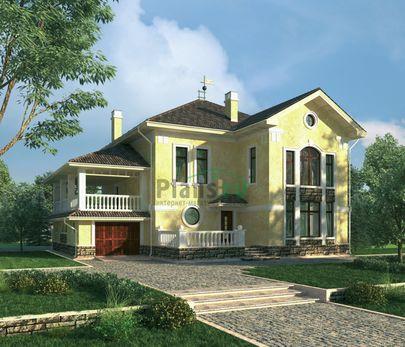 Проект двухэтажного дома 18x16 метров, общей площадью 266 м2, из керамических блоков, c гаражом, котельной и кухней-столовой
