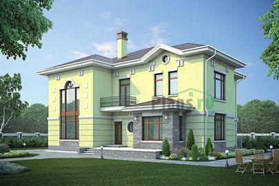 Проект двухэтажного дома 18x16 метров, общей площадью 267 м2, из керамических блоков, со вторым светом, c террасой, котельной и кухней-столовой