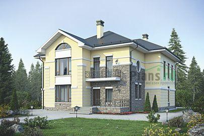 Проект двухэтажного дома 18x16 метров, общей площадью 283 м2, из керамических блоков, c котельной и кухней-столовой