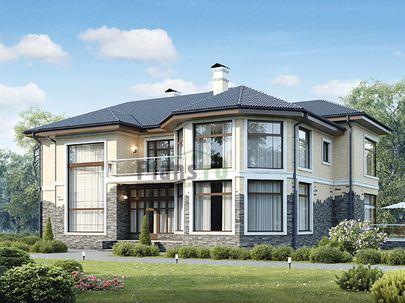 Проект двухэтажного дома 18x16 метров, общей площадью 284 м2, из керамических блоков, c террасой, котельной и кухней-столовой