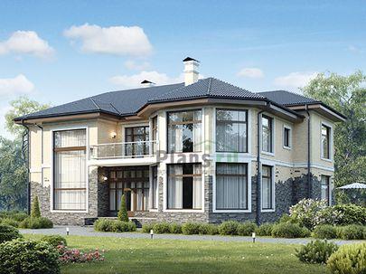 Проект двухэтажного дома 18x16 метров, общей площадью 290 м2, из керамических блоков, c террасой, котельной и кухней-столовой