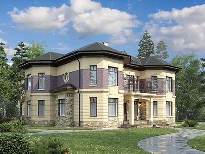 Проект двухэтажного дома 18x16 метров, общей площадью 295 м2, из керамических блоков, c террасой, котельной и кухней-столовой