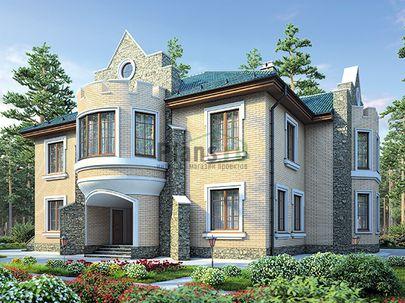 Проект двухэтажного дома 18x16 метров, общей площадью 315 м2, из керамических блоков, со вторым светом, c котельной и кухней-столовой