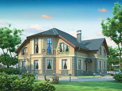 Проект двухэтажного дома 18x16 метров, общей площадью 374 м2, из керамических блоков, c гаражом, котельной и кухней-столовой