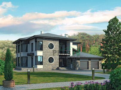 Проект двухэтажного дома 18x17 метров, общей площадью 289 м2, из керамических блоков, c гаражом, террасой, котельной, лоджией и кухней-столовой