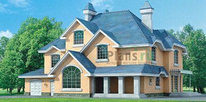 Проект двухэтажного дома 18x17 метров, общей площадью 371 м2, из керамических блоков, c гаражом, котельной и кухней-столовой