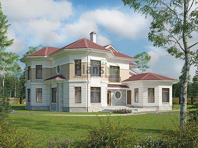 Проект двухэтажного дома 18x18 метров, общей площадью 272 м2, из керамических блоков, c бассейном, террасой, котельной и кухней-столовой