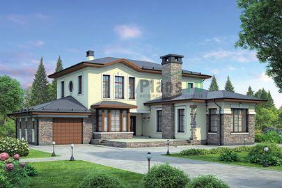 Проект двухэтажного дома 18x19 метров, общей площадью 241 м2, из керамических блоков, c гаражом, террасой и котельной
