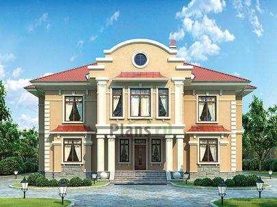 Проект двухэтажного дома 18x21 метров, общей площадью 329 м2, из керамических блоков, c террасой, котельной и кухней-столовой