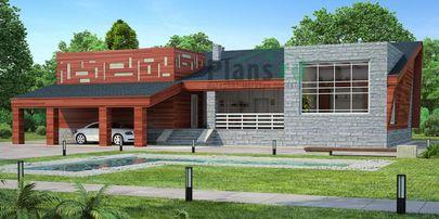 Проект двухэтажного дома 19x10 метров, общей площадью 138 м2, из кирпича, c террасой