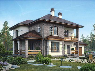 Проект двухэтажного дома 19x12 метров, общей площадью 183 м2, из кирпича, со вторым светом, c гаражом, террасой, котельной и кухней-столовой