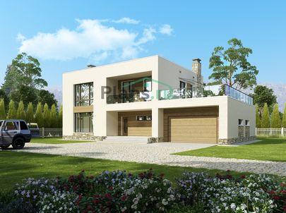 Проект двухэтажного дома 19x12 метров, общей площадью 253 м2, из керамических блоков, c гаражом, террасой, котельной, лоджией и кухней-столовой