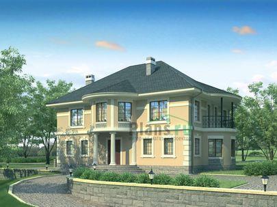 Проект двухэтажного дома 19x13 метров, общей площадью 250 м2, из газобетона (пеноблоков), c котельной