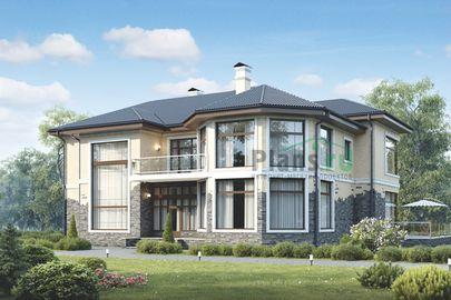 Проект двухэтажного дома 19x13 метров, общей площадью 317 м2, из керамических блоков, c террасой и котельной
