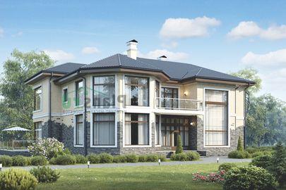 Проект двухэтажного дома 19x13 метров, общей площадью 336 м2, из газобетона (пеноблоков), c террасой, котельной и кухней-столовой